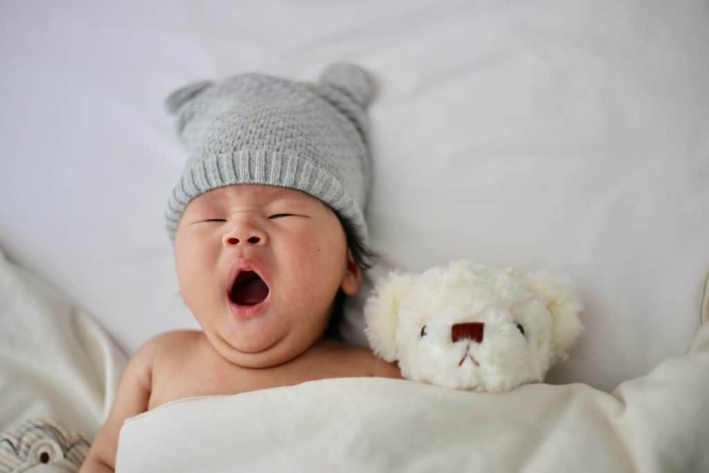 Photo of a cute baby yawning
