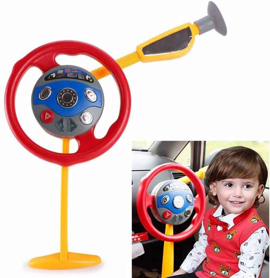 Photo of Electronic Backseat Driver toy steering wheel for car seat