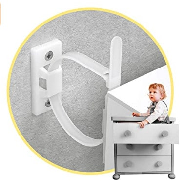 Photo of furniture anchor; a great way of baby proofing drawers