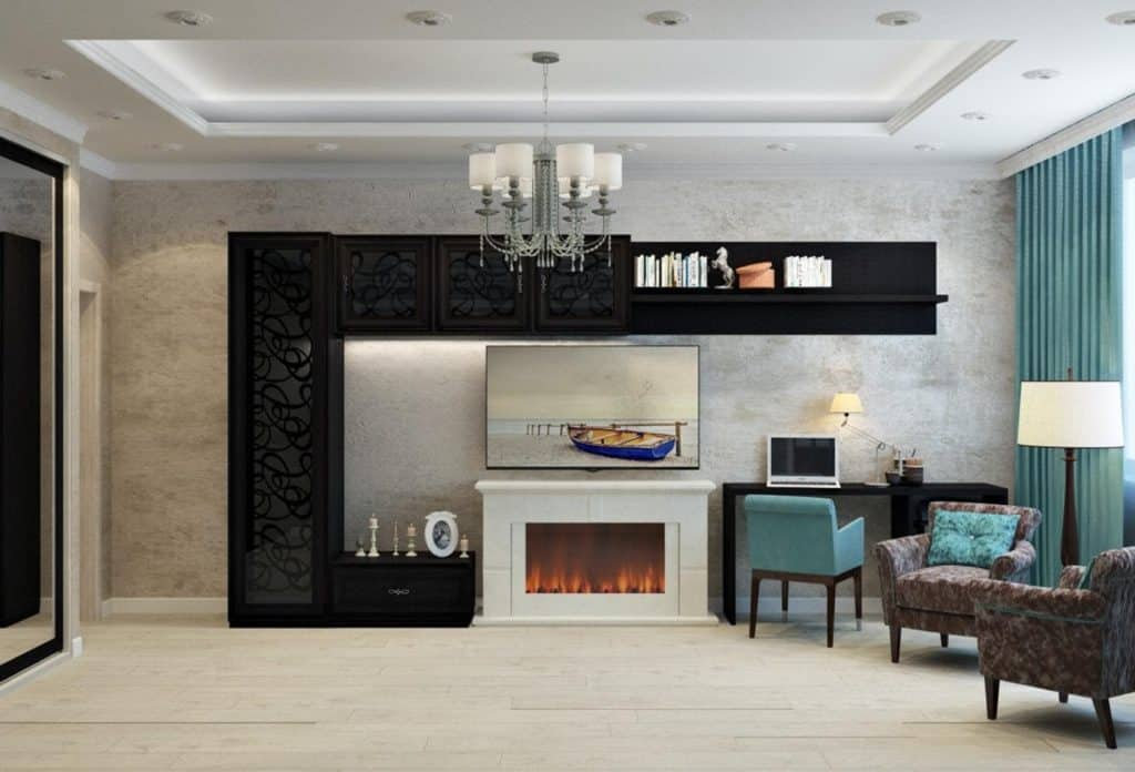 Photo of an enclosed fireplace; a great way to baby proof fireplace