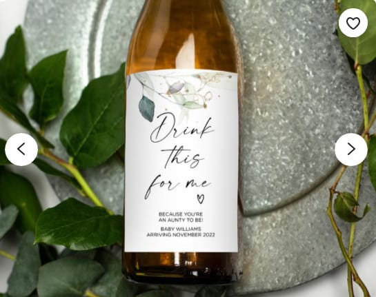Photo of a bottle of wine; a nice pregnancy announcement gift for grandparents