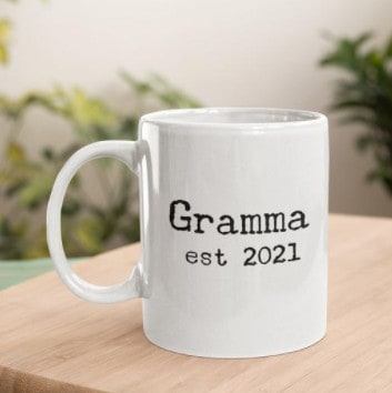 Photo of a cute mug; a nice pregnancy announcement gift for grandparents