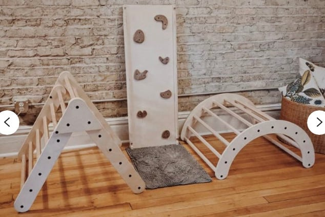 Pikler triangle; one of the best toddler climbing toys